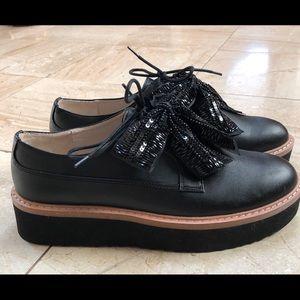 Never before worn black Zara platform shoes